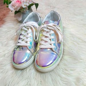 Harlow Iridescent Holographic Sparkle Sneaker Shoe